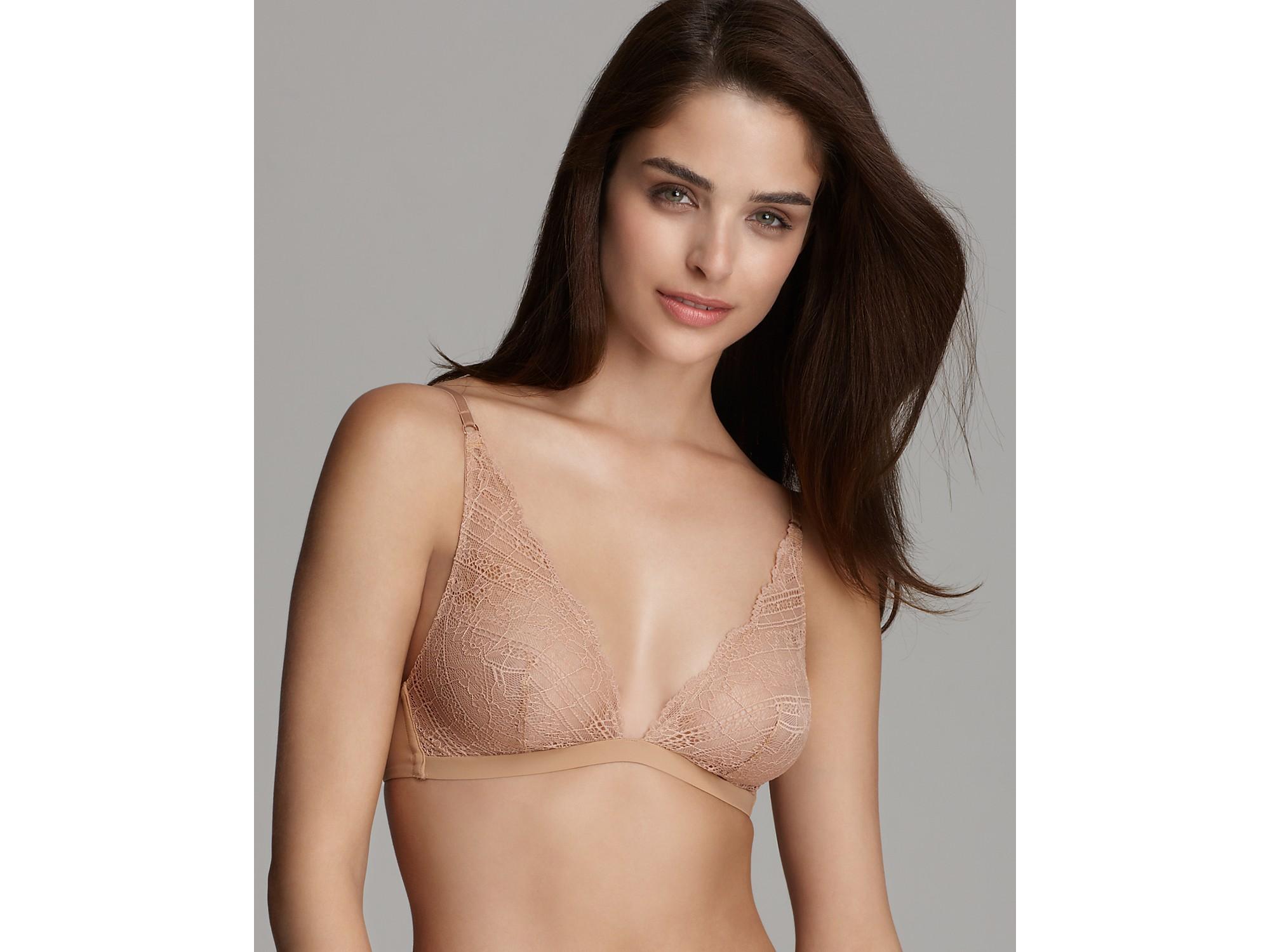 Calvin klein Underwear Envy Lace Triangle Bra in Natural   Lyst
