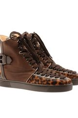 Christian Louboutin Calf Hair and Leather Hi-top Trainers