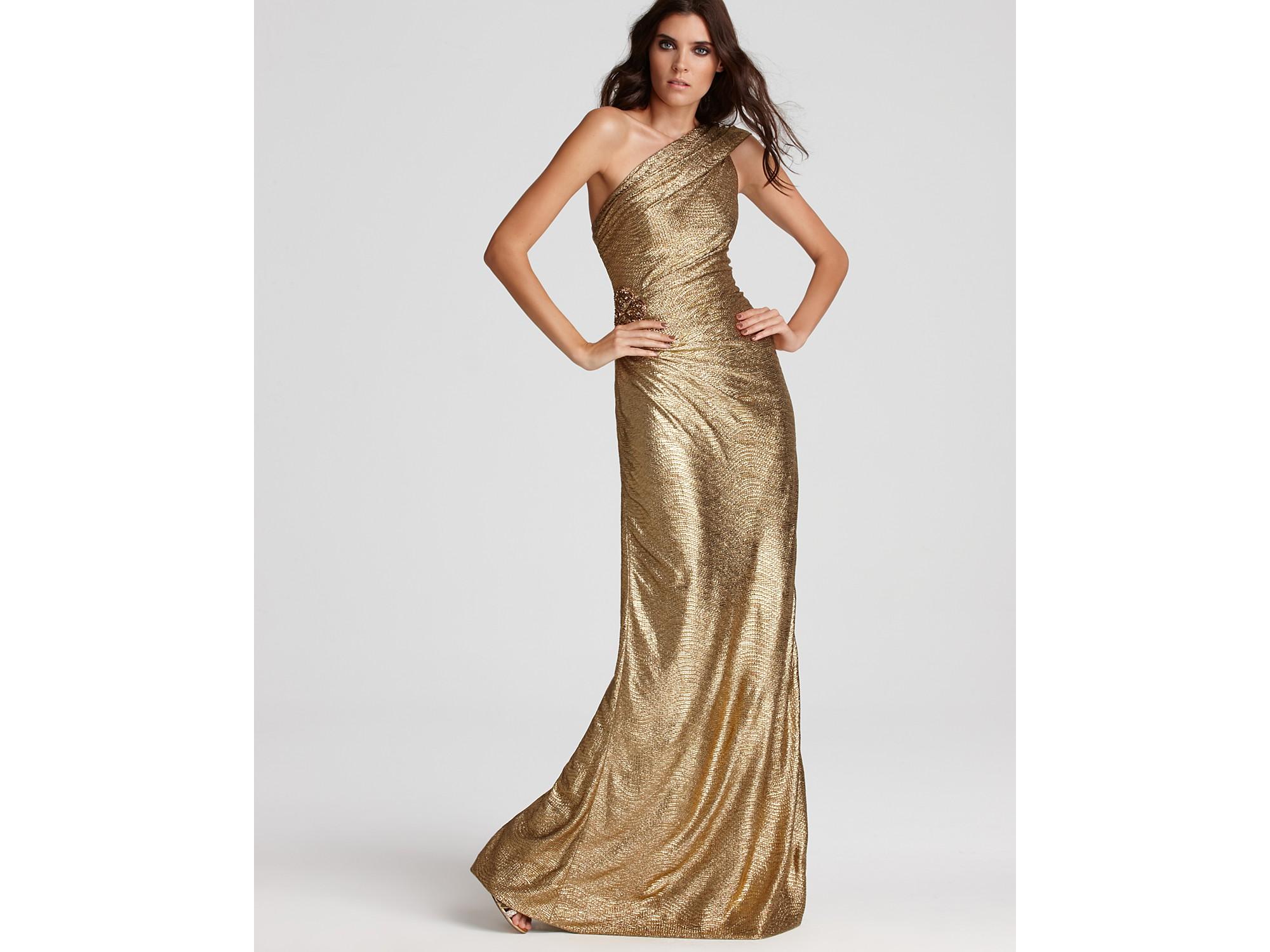 Lyst - David Meister One Shoulder Metallic Gown in Metallic