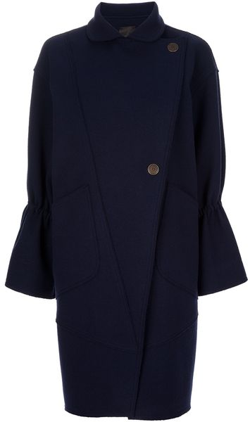 Fendi Oversized Coat in Blue - Lyst