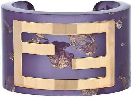 Fendi Cuff Bracelet in Purple - Lyst