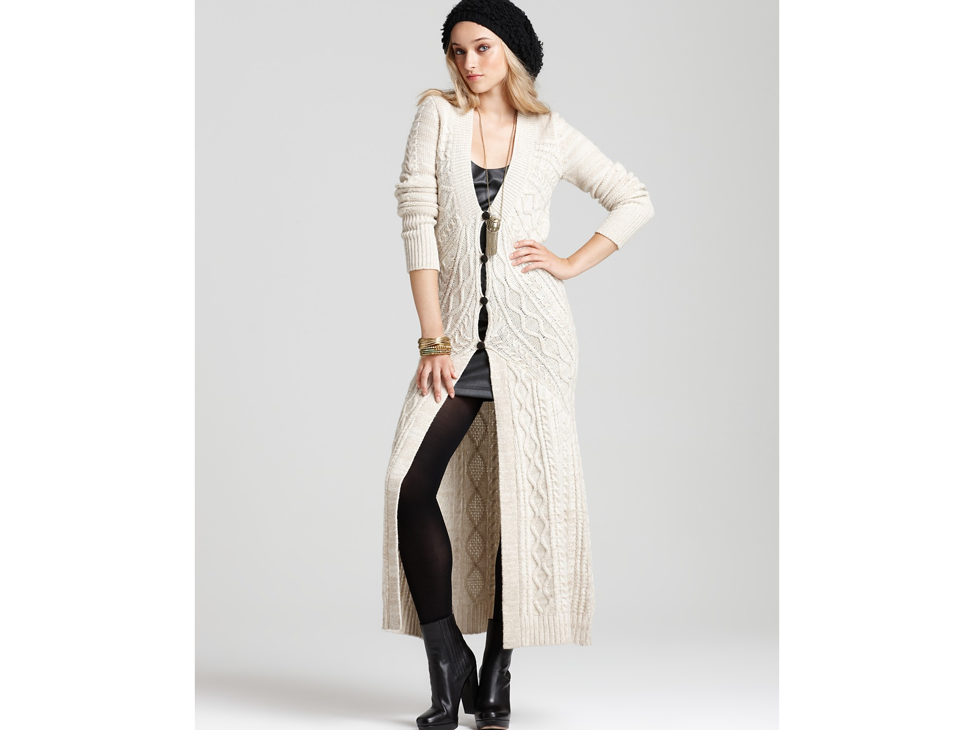 Free people Bobble Bee Maxi Cardigan in Natural | Lyst