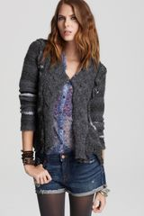 Free People Cozy Braid Stripe Cardigan - Lyst