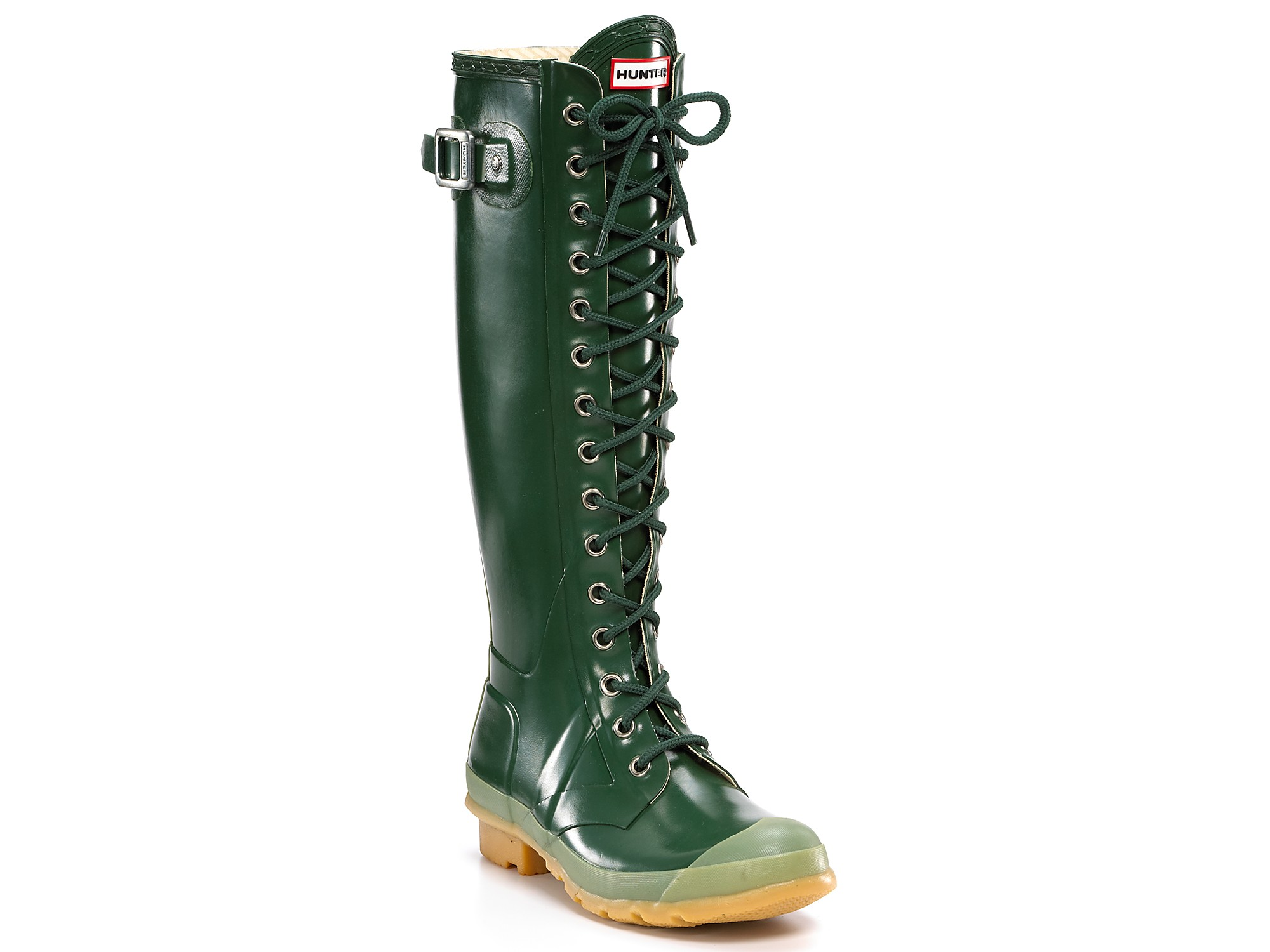 Hunter Hunter Gloss Watling Lace-up Rain Boots in Green | Lyst