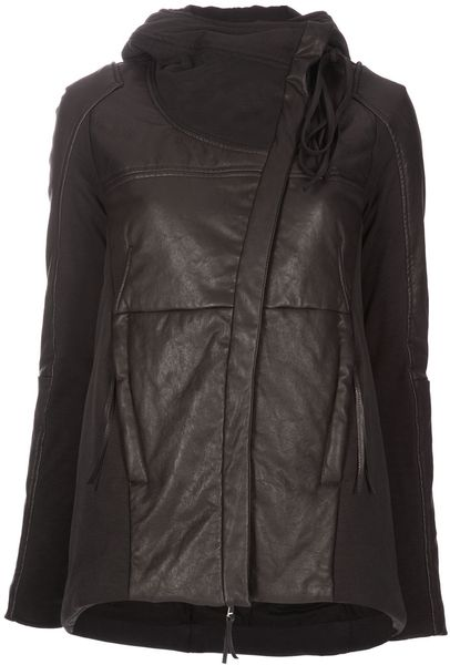 Iliaria Nistri Padded Leather Panel Jacket in Black - Lyst