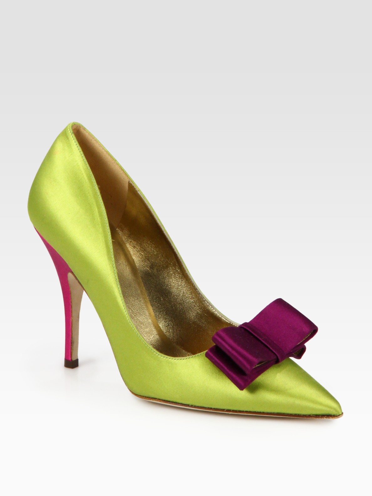 eaa96f5f14ea Lyst - Kate Spade Latrice Colorblock Satin Point Toe Pumps in Green