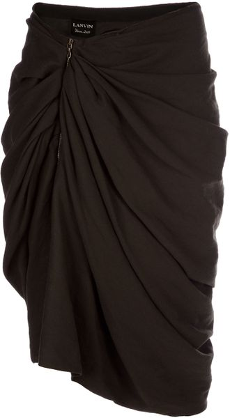 Lanvin Gathered Asymmetric Skirt - Lyst