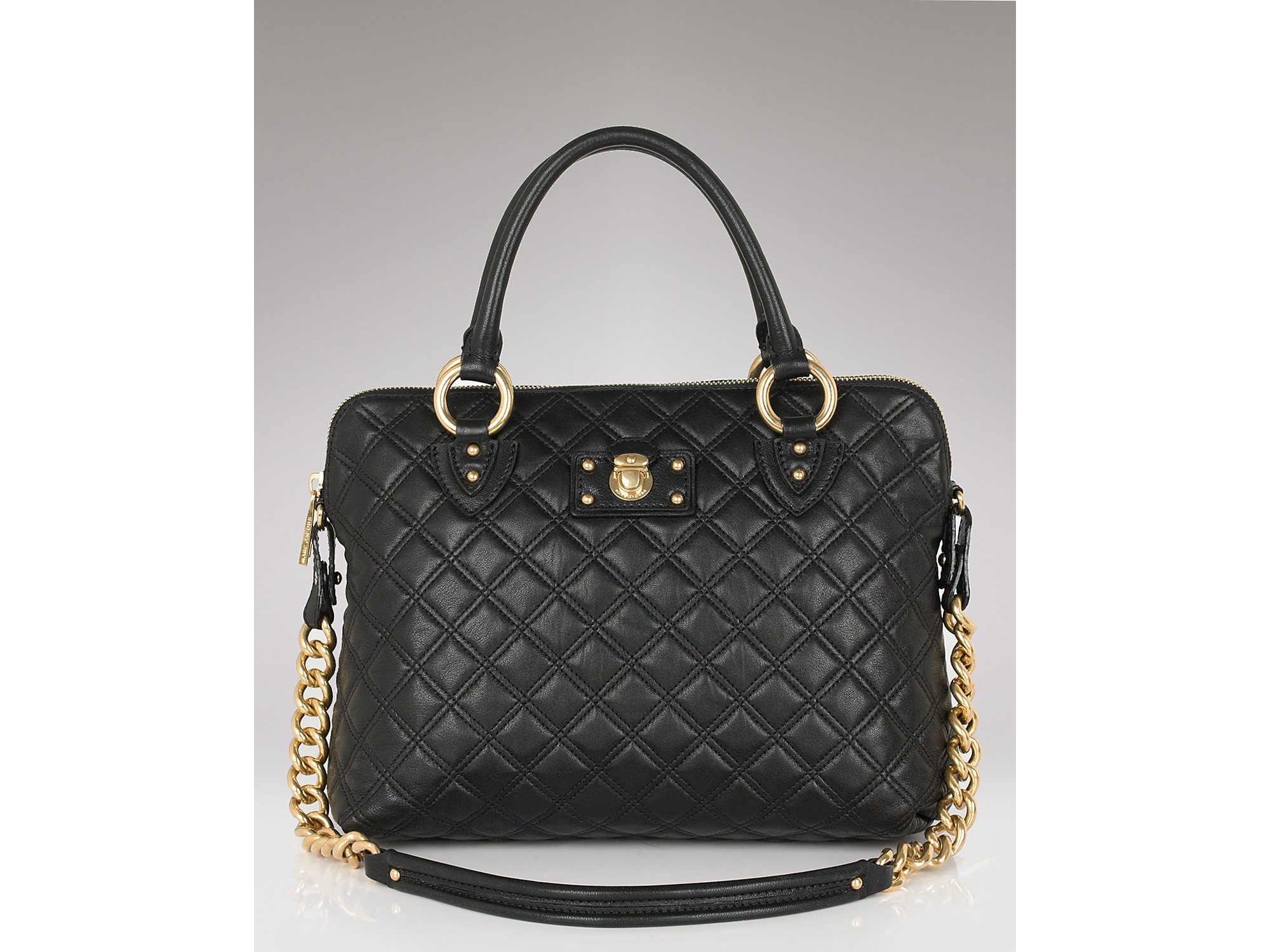 Marc jacobs The Standard Quilted Leather Satchel in Black | Lyst : marc jacobs quilted satchel - Adamdwight.com