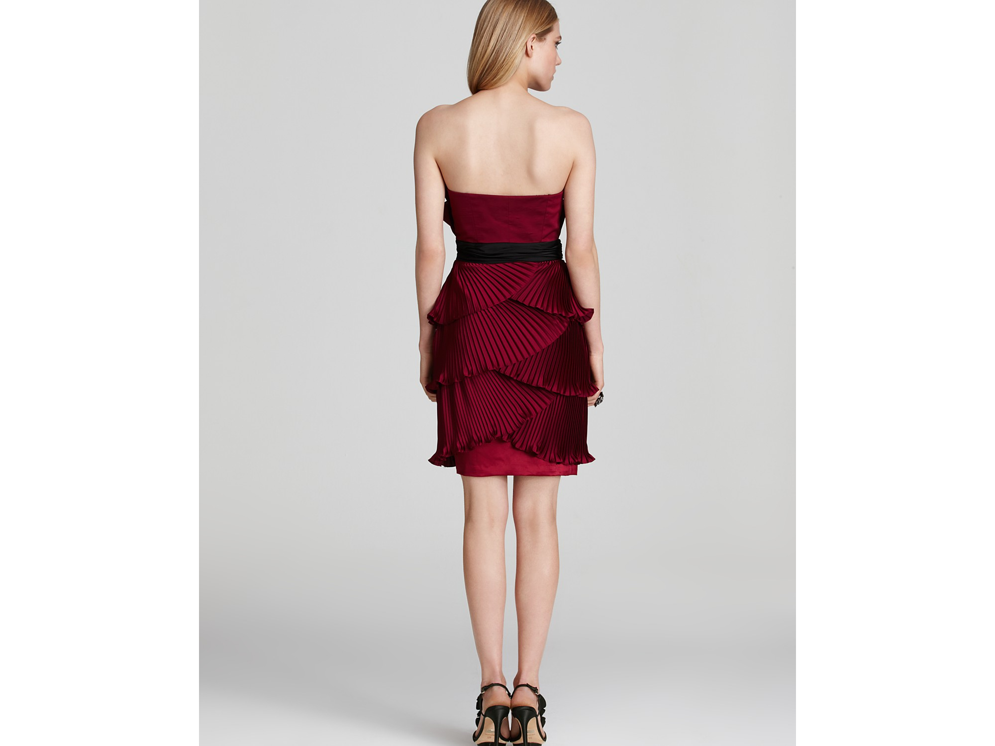 9b102e03225c0 Max & Cleo Pleated Satin Strapless Dress in Red - Lyst