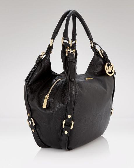 Michael Kors Bedford Black Leather Shoulder Tote Bag 52