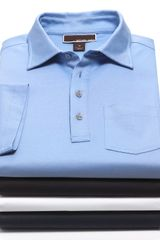 Michael Kors Short Sleeve Liquid Jersey Metal Button Polo - Lyst