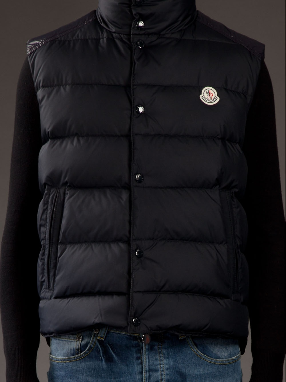 navy blue moncler body warmer