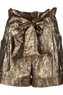Mw Matthew Williamson Belted Waist Metallic Short - Lyst
