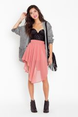 Nasty Gal Asymmetric Chiffon Skirt - Blush - Lyst