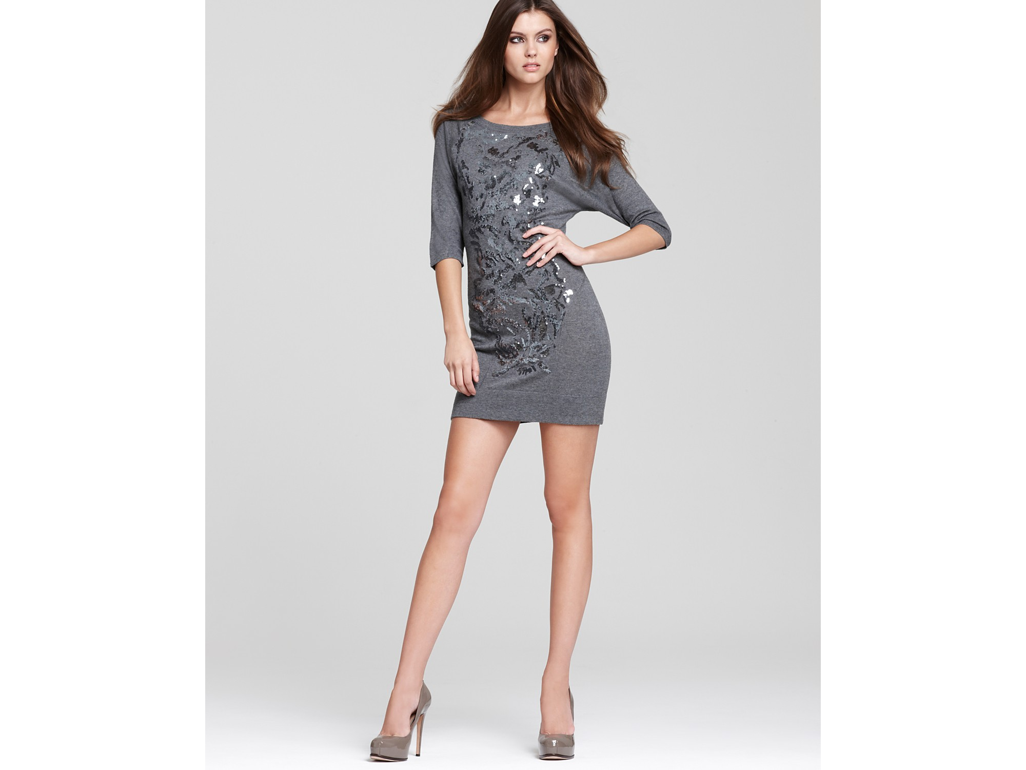 Nicole miller Sequin Sweater Dress in Gray | Lyst