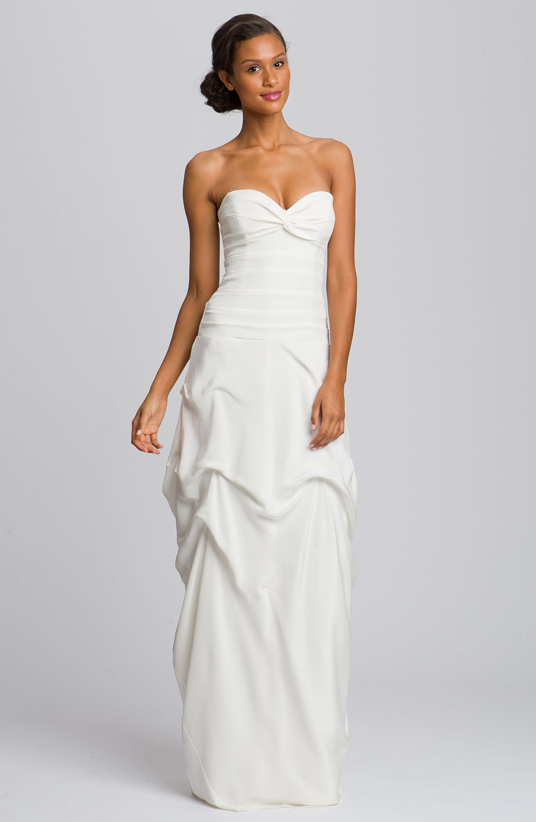 nicole miller silk cr pe de chine strapless gown in white