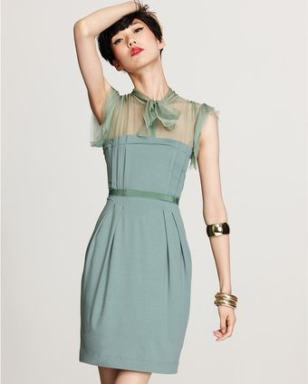 Philosophy di Alberta Ferretti Ruffle Sleeve Dress with Tie - Lyst