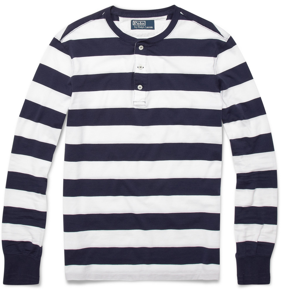 Polo ralph lauren striped long sleeve henley t shirt in for Blue and white long sleeve shirt