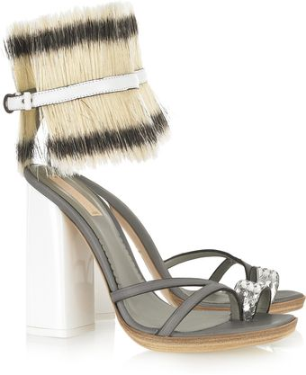 Reed Krakoff Bridle-cuffed Leather and Python Sandals - Lyst