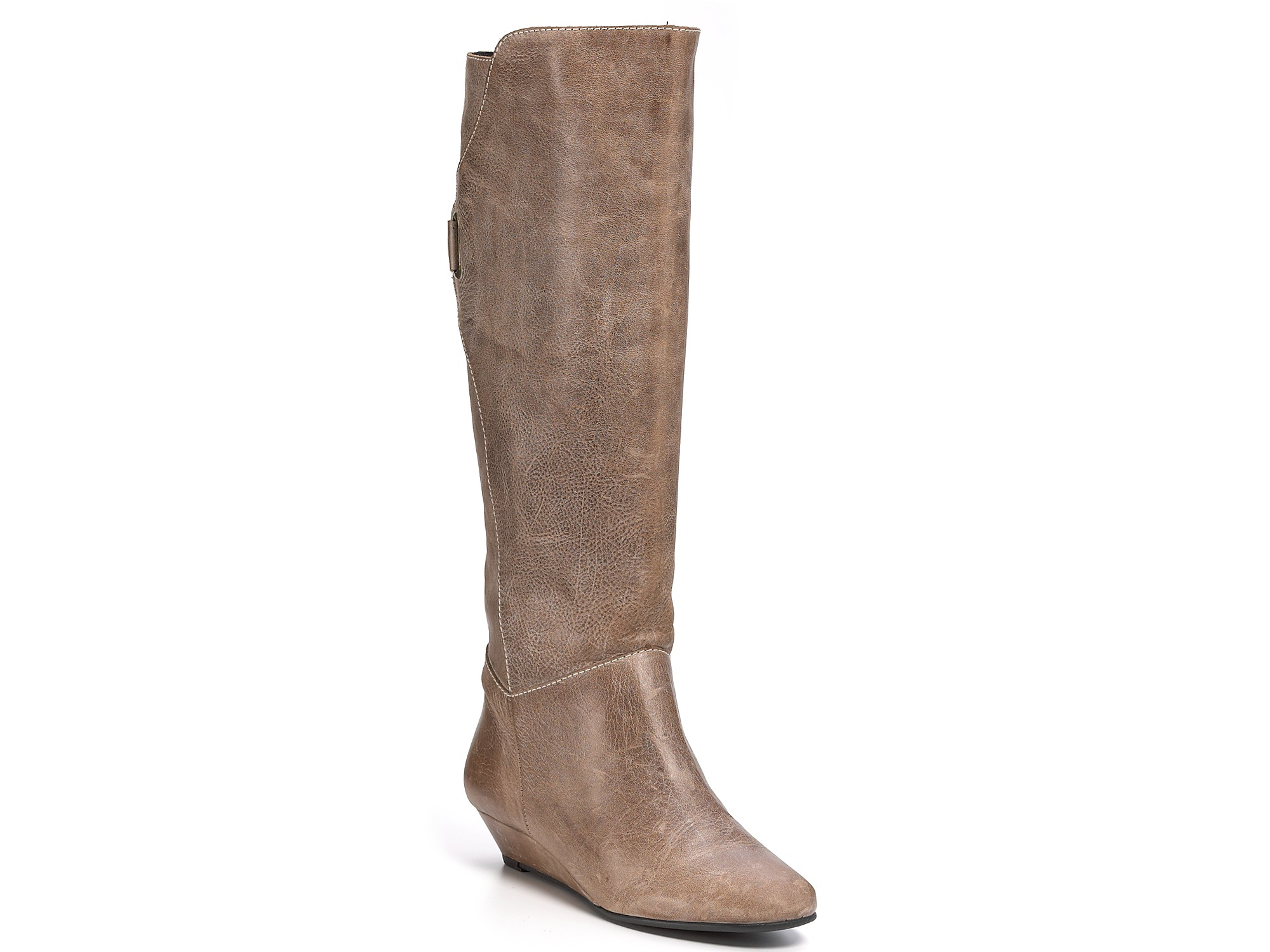 steve madden steven by iden wedge buckle boots in brown