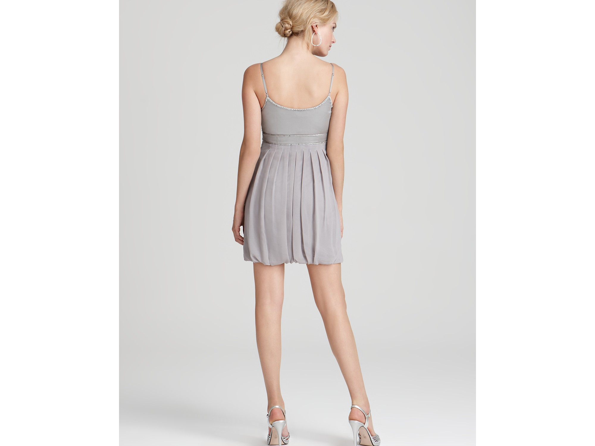 studio sw by sue wong pleated tulip skirt dress in gray lyst