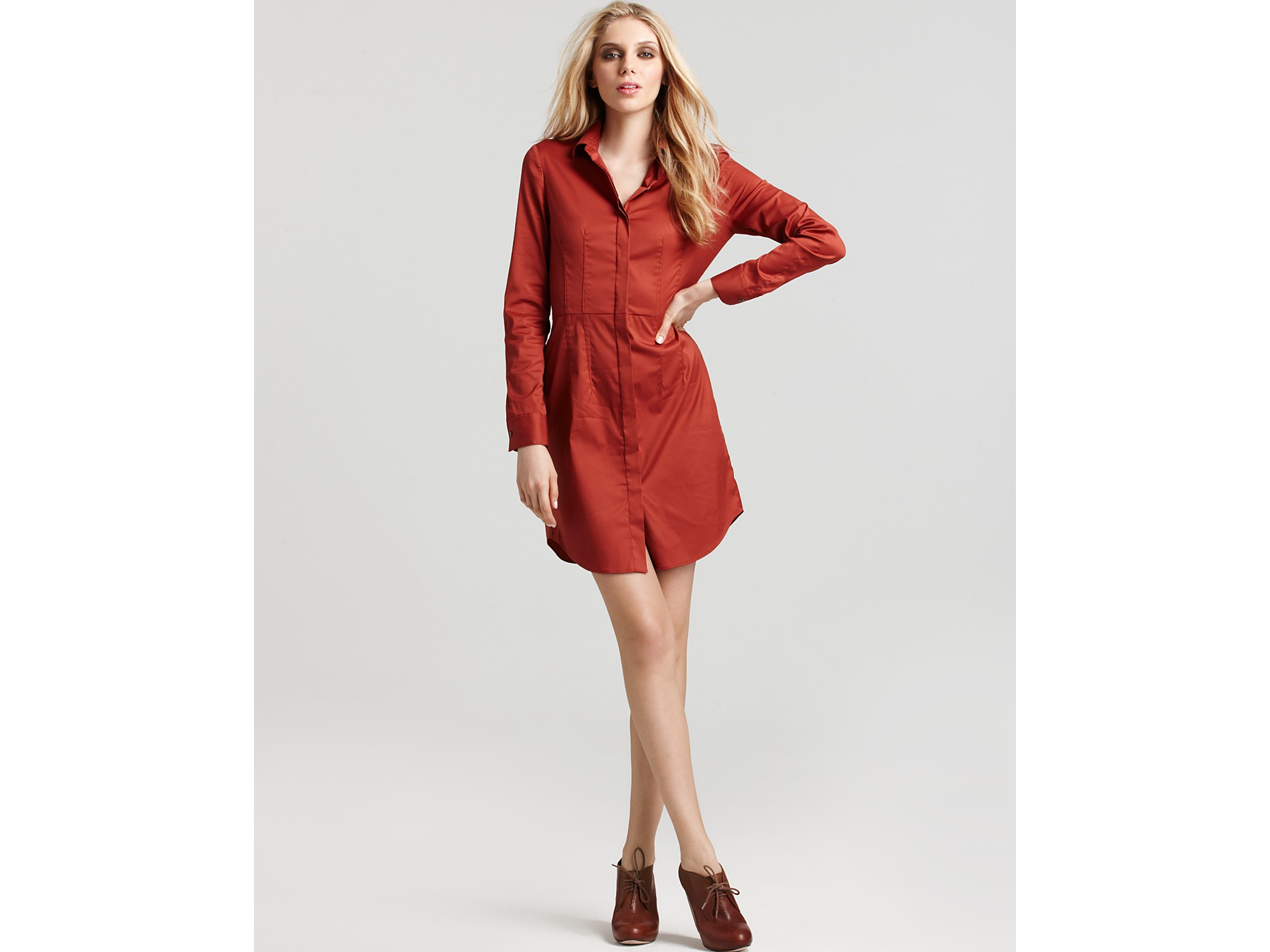 Lyst theory kadiem stretch cotton shirt dress in brown for How to stretch a dress shirt