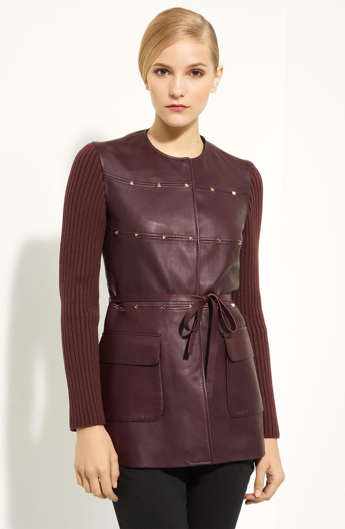 Knit leather jacket
