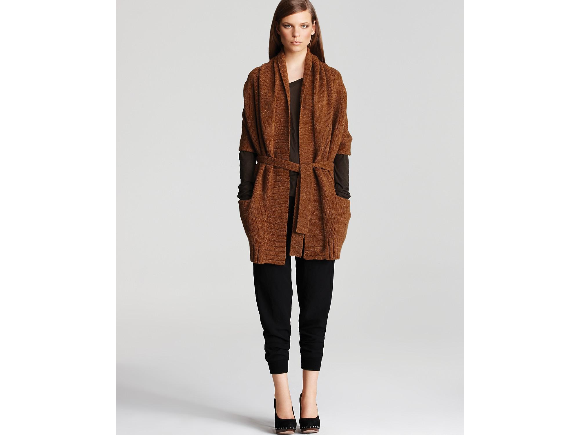 Vince Tweed Sweater Kimono Cardigan in Brown | Lyst