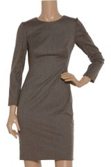 Zac Posen Woolblend Dress in Brown - Lyst
