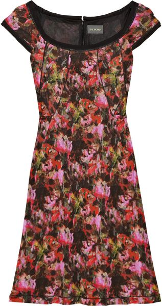 Zac Posen Abstract Printed Jersey Dress in Multicolor (burgundy) - Lyst