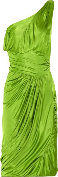 Zac Posen Draped Oneshoulder Jersey Dress in Green - Lyst