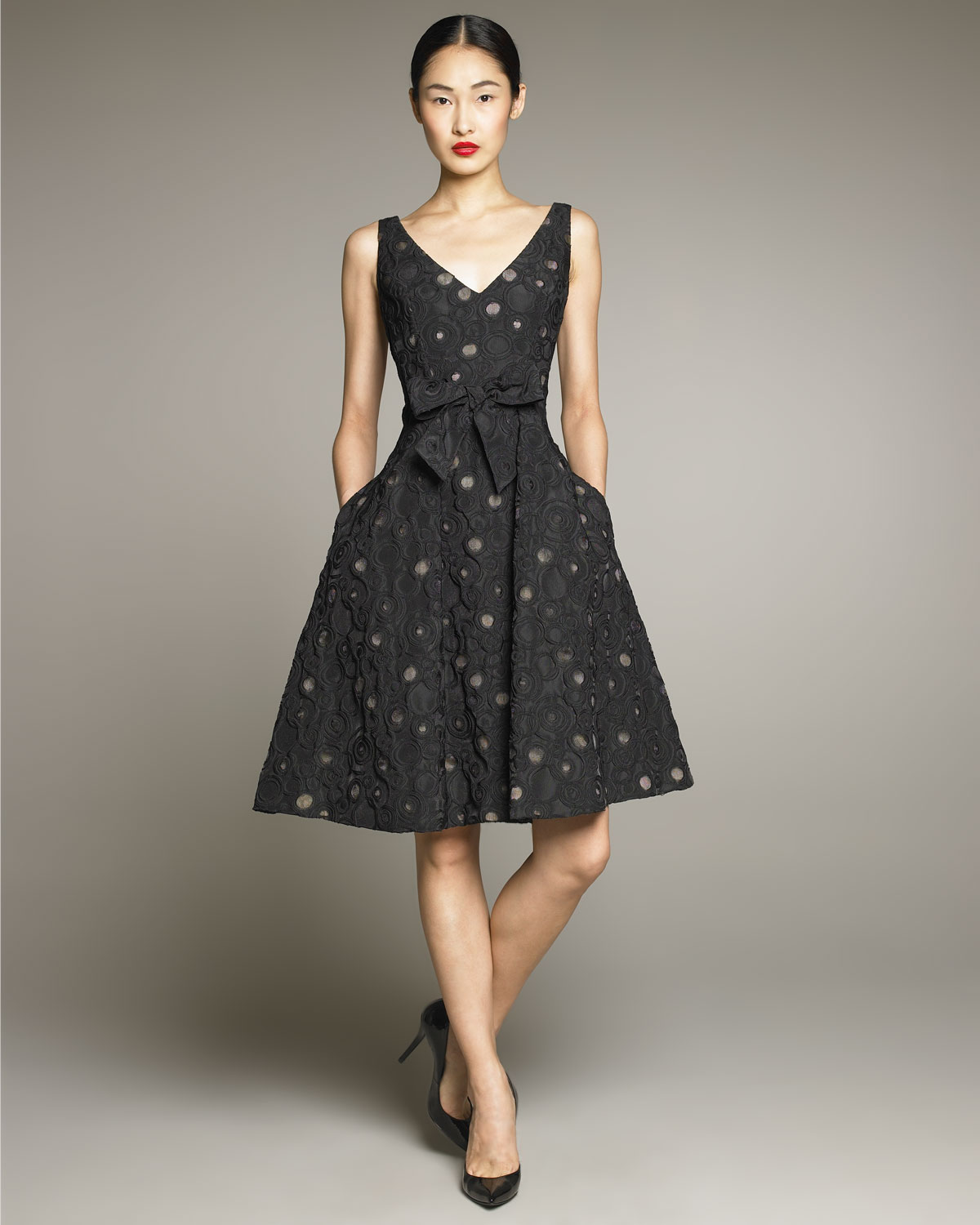 David Meister Dot Print Full Skirt Dress In Black Lyst