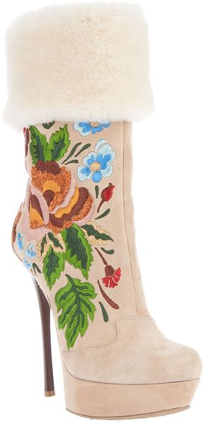 Gianmarco Lorenzi Embroidered Boot - Lyst