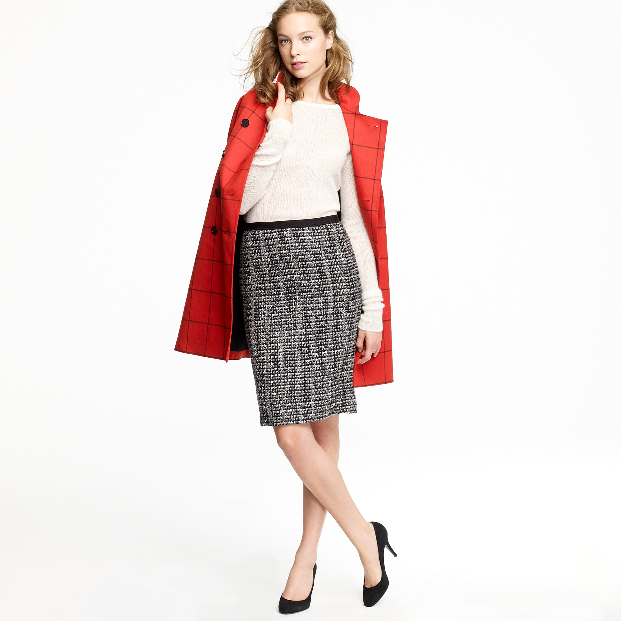 j crew no 2 pencil skirt in midnight tweed in gray lyst