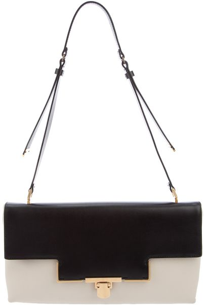 Lanvin Leather Shoulder Bag in Black (white) - Lyst