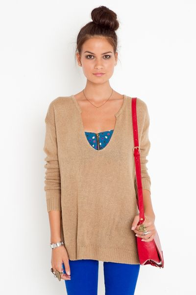 Nasty Gal Lets Split Knit  Camel in Beige (camel) - Lyst