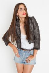 Nasty Gal Chopped Leather Moto Jacket - Gray - Lyst
