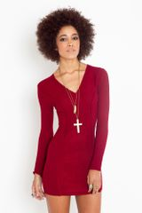 Nasty Gal Joaney Knit Dress - Wine - Lyst
