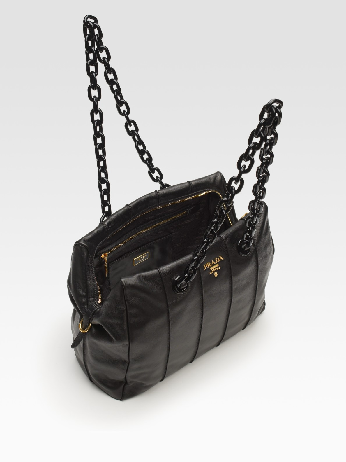 eecab49d5789 good lyst prada soft calf chain bag in black 3bbad d2861
