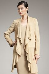 Ralph Lauren Black Label Ruffle Suede Long Jacket in Beige (tan) - Lyst