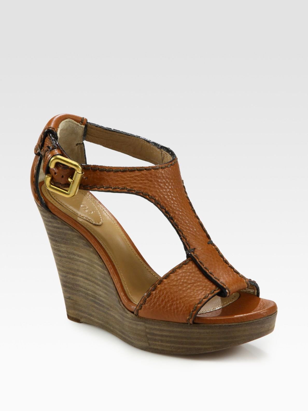 57a53cc27af1 Lyst - Chloé Leather T-strap Platform Wedge Sandals in Brown