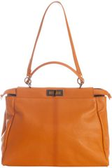 Fendi Orange Calf Leather Peekaboo Satchel in Orange - Lyst