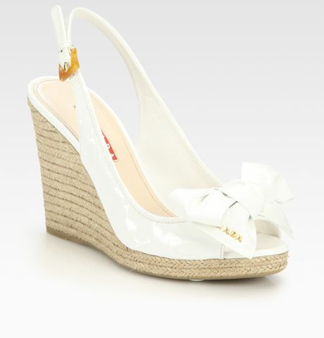 Prada Patent Leather Slingback Espadrille Wedge Sandals in White