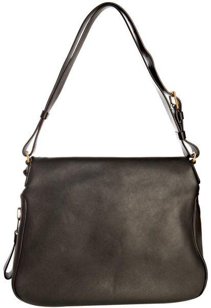 Black Leather Over Shoulder Bag 77