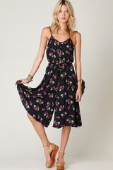 Free People Floral Printed Tea Length Printed Romper - Lyst