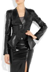 Alexander Mcqueen Foldedfront Leather Jacket in Black - Lyst