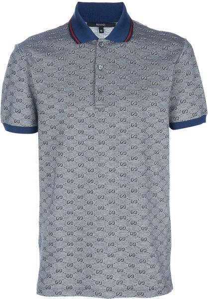 gucci monogrammed polo shirt in gray for grey lyst