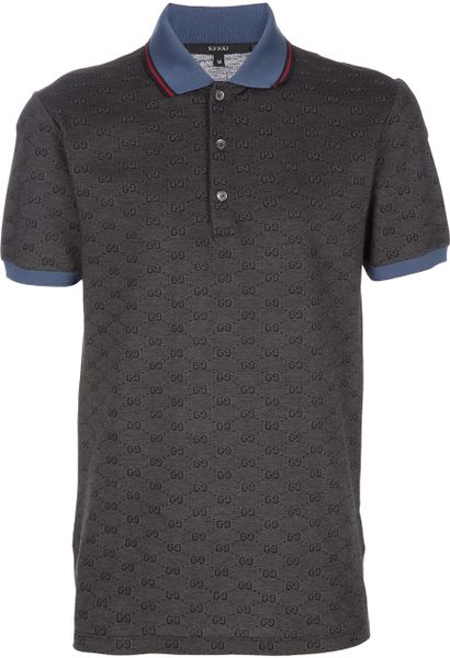 gucci monogrammed polo shirt in gray for men  grey