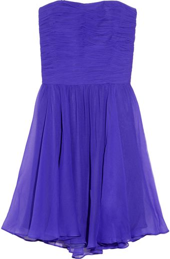 Halston Heritage Ruched Silk-georgette Strapless Dress - Lyst