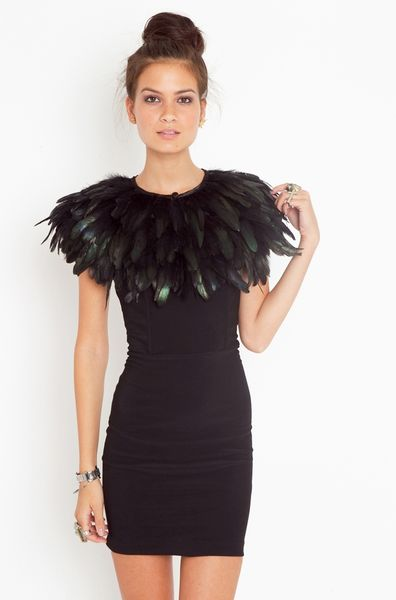 Nasty Gal Ostrich Feather Collar in Black - Lyst